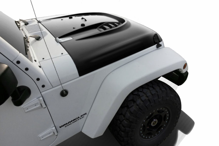 2007-2017 Fits: Jeep Wrangler Power Dome Hood - 1 Piece