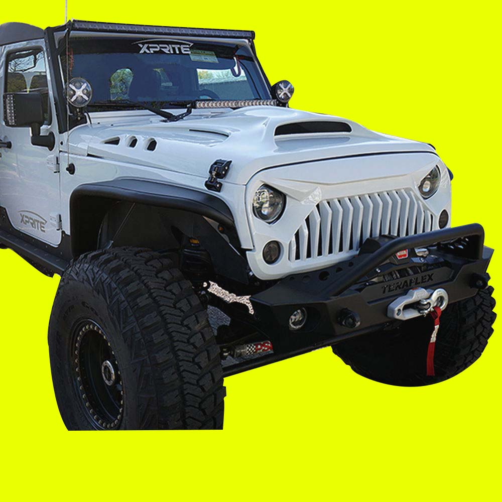 Jeep Wrangler Dealers >> Xprite Monster Front Fiberglass Hood with Scoop Vents for Fits: Jeep Wrangler JK - Exotic Euro ...