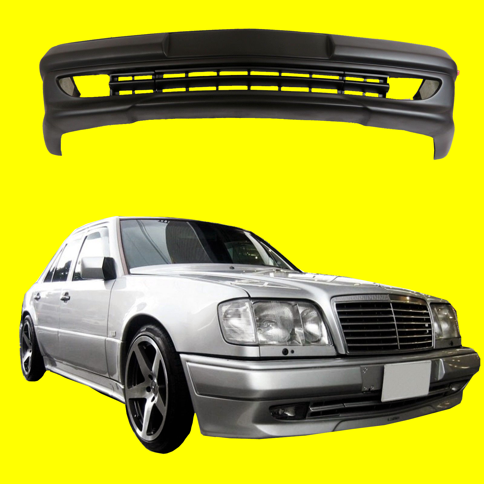 Mercedes benz class w124 amg 3 style front bumper spoiler for Aftermarket parts mercedes benz